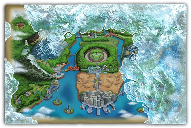 A região de Unova em Pokémon Black 2 e White 2 (foto: Divulgação) (Foto: A região de Unova em Pokémon Black 2 e White 2 (foto: Divulgação))