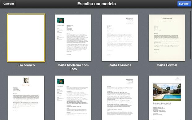 Escolha o modelo de documento que deseja (Foto: Reprodução/Aline Jesus)