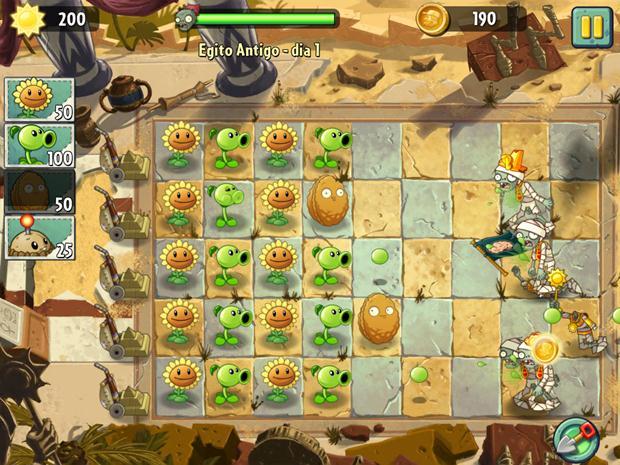Plants vs Zombies 2 mantém boa parte da jogabilidade original (Foto: Reprodução / Dario Coutinho)