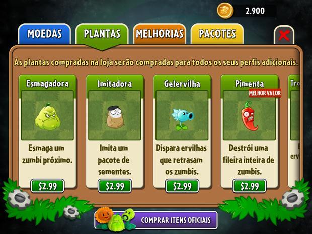 Plantas em Plants vs Zombies estão mais caras, mas apenas as especiais (Foto: Reprodução / Dario Coutinho)