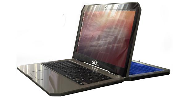 Notebook 'SOL' tem uma placa solar acoplada a tampa para recarregar a bateria (Foto: Divulgação)