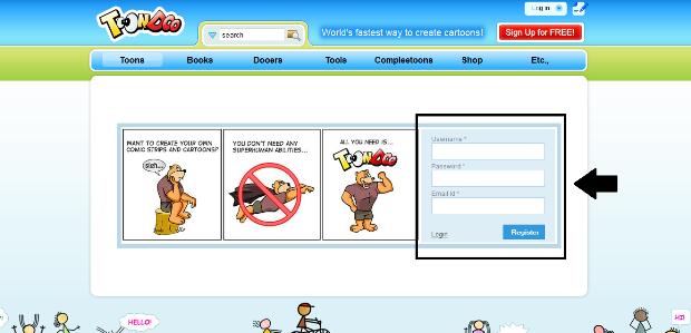 Criando uma conta no ToonDoo (Foto: Reprodução/Lívia Dâmaso) (Foto: Criando uma conta no ToonDoo (Foto: Reprodução/Lívia Dâmaso))