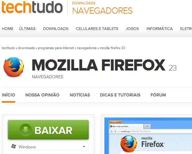 Baixando o Firefox no TechTudo Downloads (Foto: Reprodução/Edivaldo Brito)