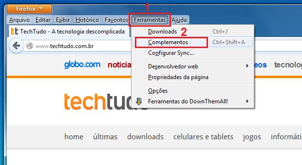 Acessando a tela de complementos do Firefox (Foto: Reprodução/Edivaldo Brito)