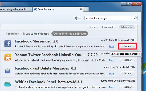Iniciando a instalação do Facebook Messenger no Firefox (Foto: Reprodução/Edivaldo Brito)