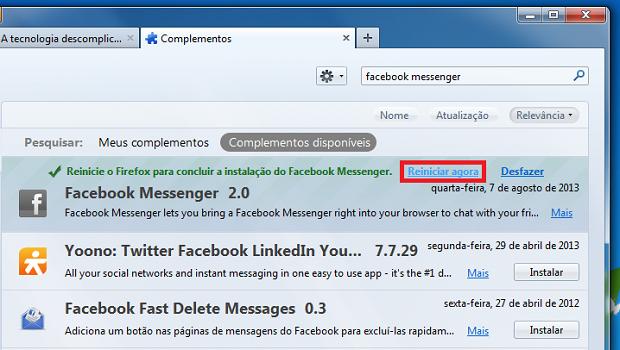 Finalizando a instalação do Facebook Messenger no Firefox (Foto: Reprodução/Edivaldo Brito)