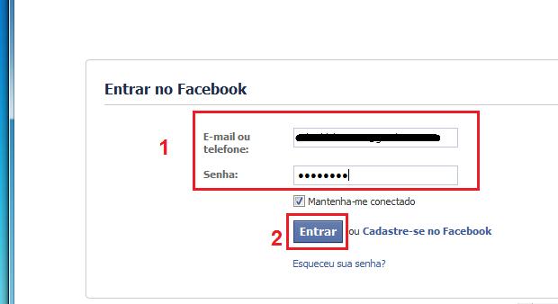 Digitando os dados da conta Facebook (Foto: Reprodução/Edivaldo Brito)