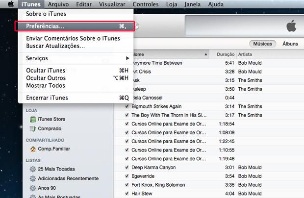 Acessando as preferências do iTunes (Foto: Reprodução/Marvin Costa)