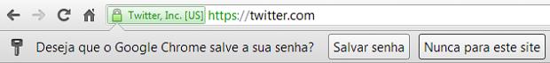 Chrome pergunta, toda vez que uma nova senha é inserida, se o usuário quer salvá-la no navegador (Imagem: Daniel Pinto)