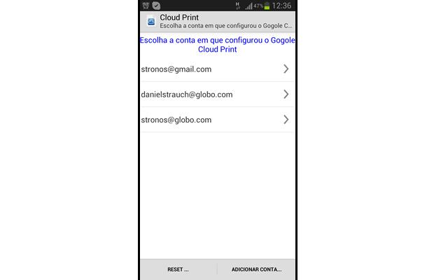 Acesse o app Cloud Print através de seu aparelho Android e selecione a mesma conta Google utilizada nas configurações anteriores (Foto: Reprodução/ Daniel Ribeiro)