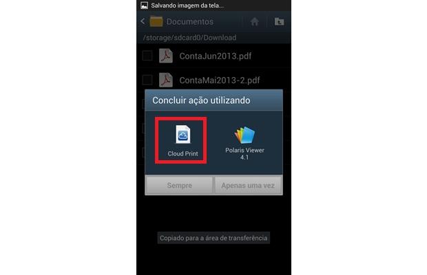 Escolha o app Cloud Print para abrir um documento em seu Android (Foto: Reprodução/ Daniel Ribeiro)