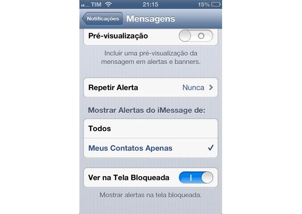 """Encontre na lista a entrada """"Mensagens"""" (Foto: Reprodução/Lucas da Silva)"""