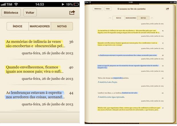 As mesmas anotações e destaques aparecem no iPad (Foto: Reprodução/Lucas da Silva)