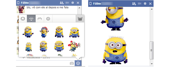 Emoticos do Meu Malvado Favorito no chat do Facebook(Foto: Reprodução/Thiago Barros)