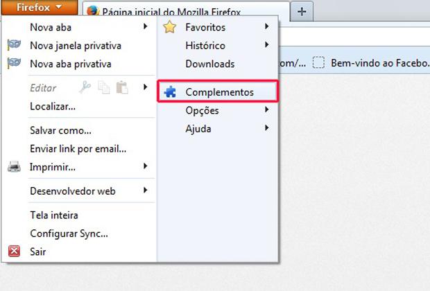 Acessando as opções de complementos do Firefox (Foto: Reprodução/Marvin Costa)