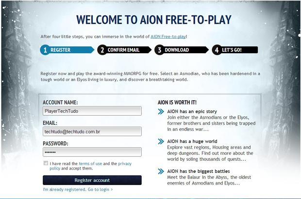 Preencha o formulário de Registro para jogar Aion (Foto: TechTudo)