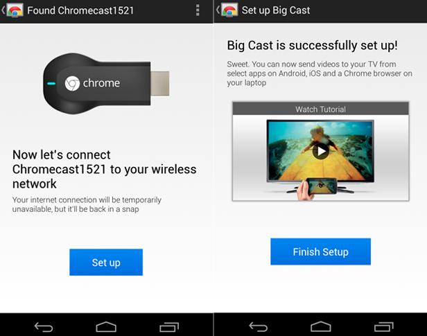 Primeira e única configuração pelo app oficial do Chromecast (Foto: Reprodução/TechTudo)