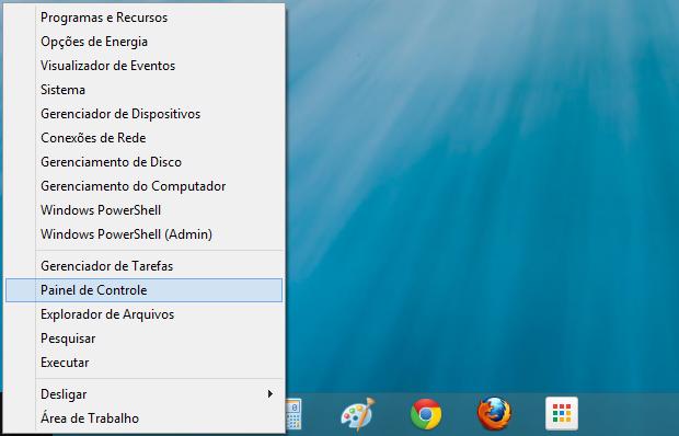 Acessando o Painel de controle do Windows 8 (Foto: Reprodução/Helito Bijora)