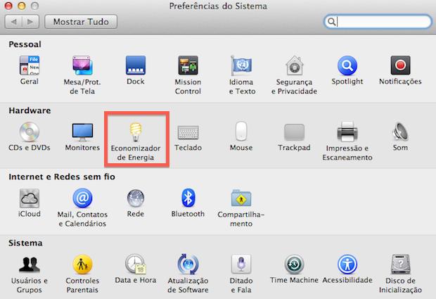 Tela principal das opções do OS X (Foto: Reprodução/Helito Bijora)