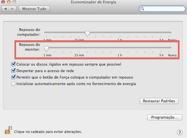 Configurando repouso do monitor (Foto: Reprodução/Helito Bijora)