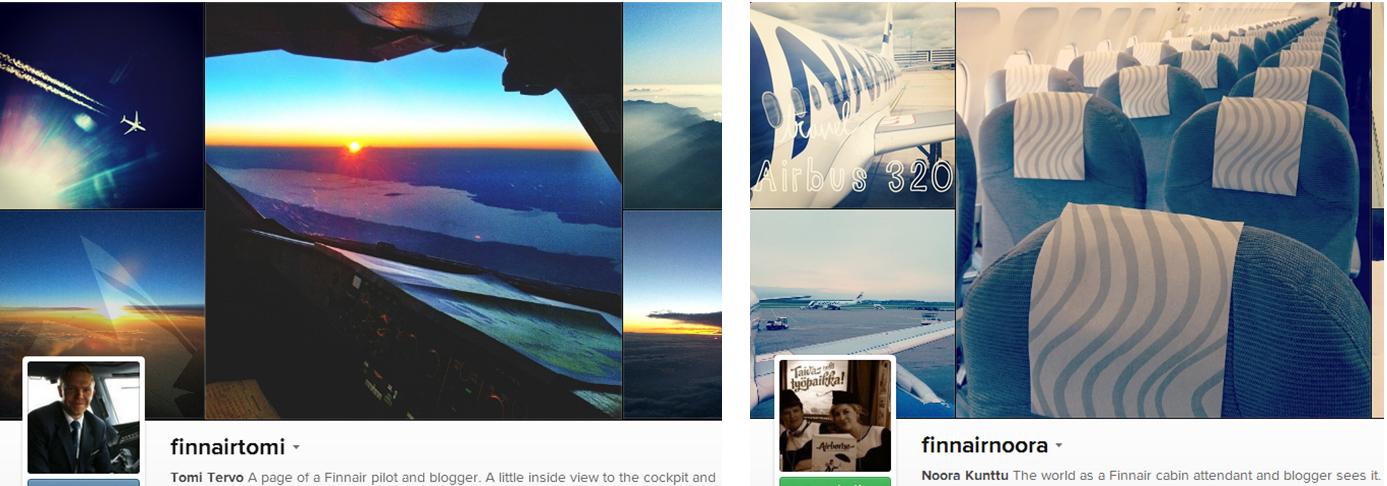 """Piloto, comissária e seus Instagrams """"corporativos"""" no Instagram. (Foto: Reprodução)"""