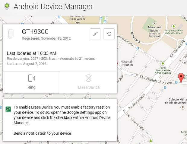 Site mostra, automaticamente, onde está o gadget (Foto: Reprodução Thiago Barros)