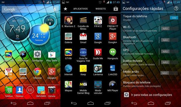 """A Motorola instala um Android quase """"puro"""" em seus novos smartphones (Foto: Reprodução / Dario Coutinho)"""
