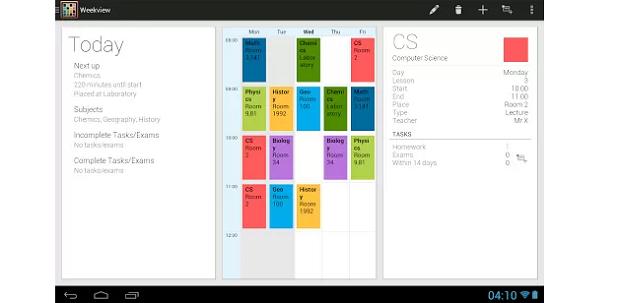 É possível se organizar bem com o TimeTable para Android (Foto: Divulgação)
