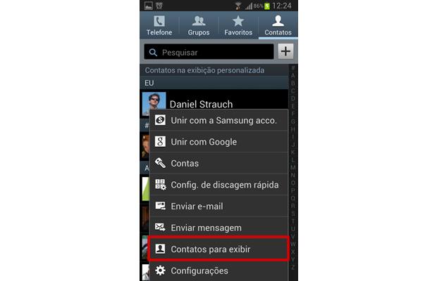 """Pressione o botão de """"função"""" de seu aparelho, e selecione """"Contatos para exibir"""" (Foto: Reprodução/ Daniel Ribeiro)"""