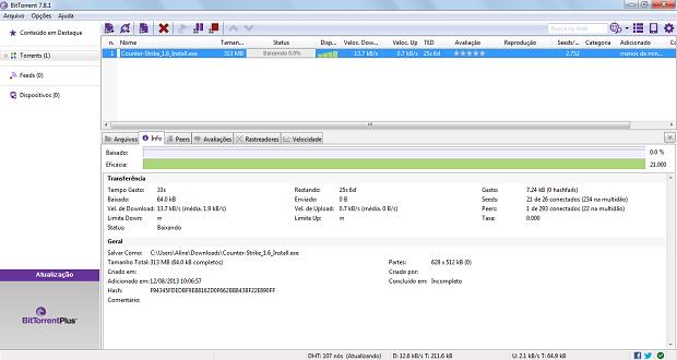 Esta é a tela de download do BitTorrent (Foto: Reprodução/Thiago Barros)