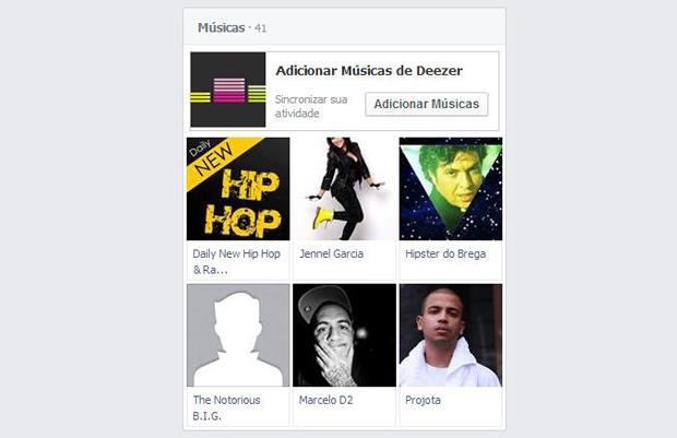 Além dos artistas curtidos, é possível sincronizar o Facebook com serviços de streaming (Foto: Reprodução/Thiago Barros)