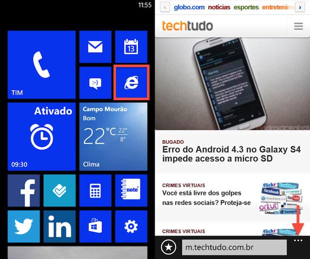 Acessando as opções do Internet Explorer (Foto: Reprodução/Helito Bijora)