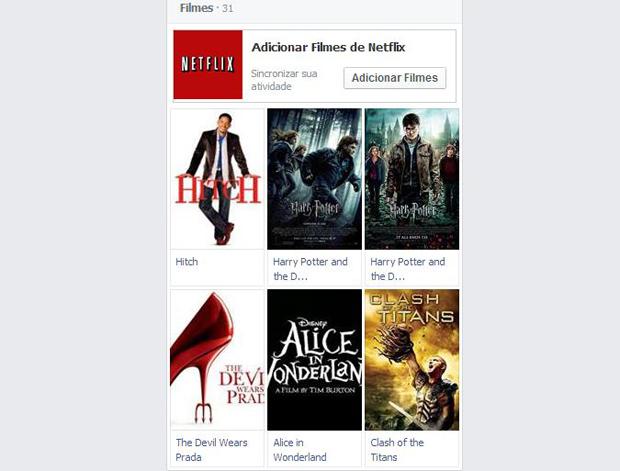 Filmes podem ser sincronizados entre Netflix e Facebook (Foto: Reprodução/Thiago Barros)