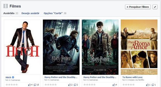 Filmes vistos pelo Netflix aparecem no Facebook (Foto: Reprodução/Thiago Barros)