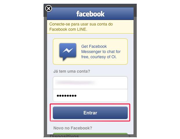 Realizando login no Facebook (Foto: Reprodução/Marvin Costa)