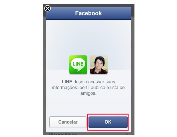 Permitindo o acesso do Line ao Facebook (Foto: Reprodução/Marvin Costa)