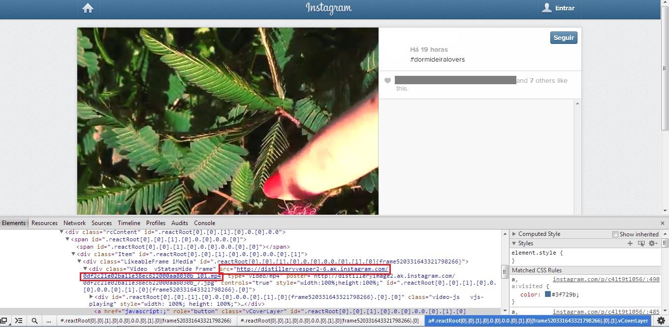 Encontre o link do vídeo nos códigos exibidos (Foto: Reprodução/Gabriela Viana)