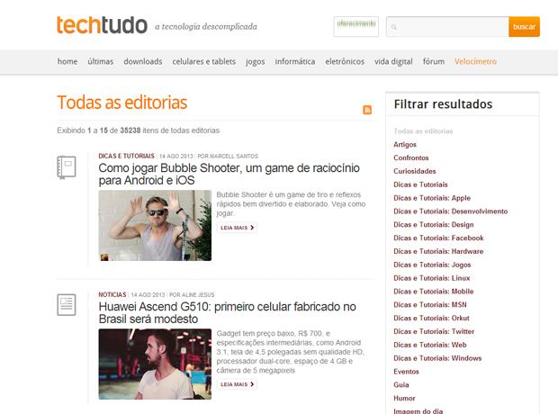 Página do TechTudo com o Hey Girl (Foto: Reprodução/TechTudo)