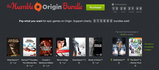 Humble Origin Bundle oferece diversos jogos da EA por valor escolhido pelo comprador (Foto: Reprodução/Murilo Molina)