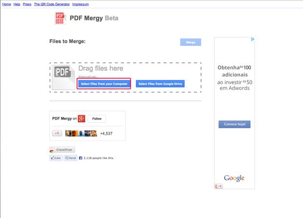 Anexando arquivos PDF no PDF mergy (Foto: Reprodução/Marvin Costa)