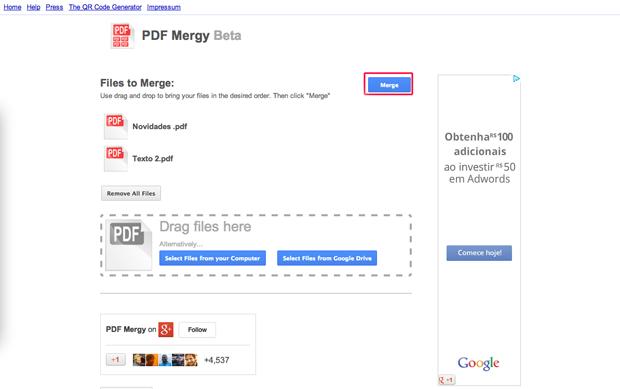 Mesclando arquivos no PDF mergy (Foto: Reprodução/Marvin Costa)
