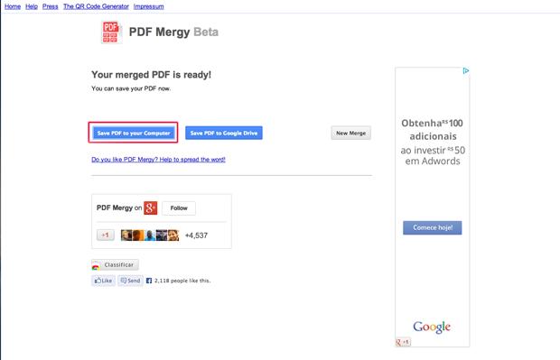 Salvando o arquivo mesclado pelo PDF mergy em seu computador (Foto: Reprodução/Marvin Costa)
