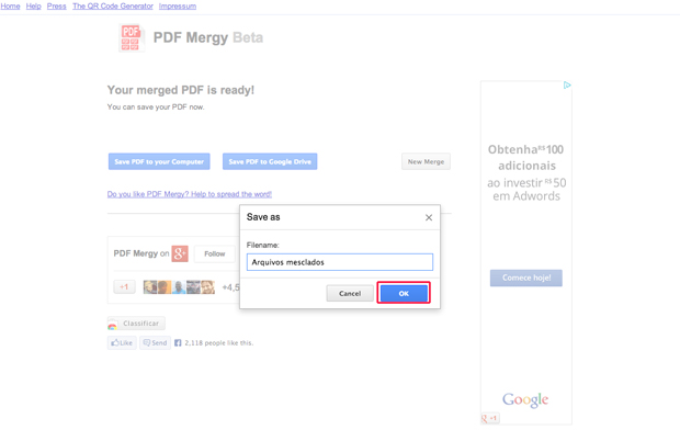 Nomeando o arquivo PDF criado pelo Google Chrome (Foto: Reprodução/Marvin Costa)