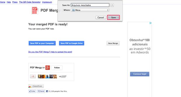 Salvando o PDF gerado pelo Google Chrome (Foto: Reprodução/Marvin Costa) (Foto: Salvando o PDF gerado pelo Google Chrome (Foto: Reprodução/Marvin Costa))
