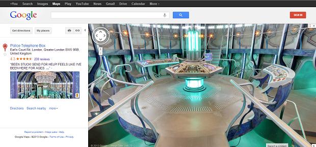 Este é o visual interno da Tardis no Maps (Foto: Reprodução)