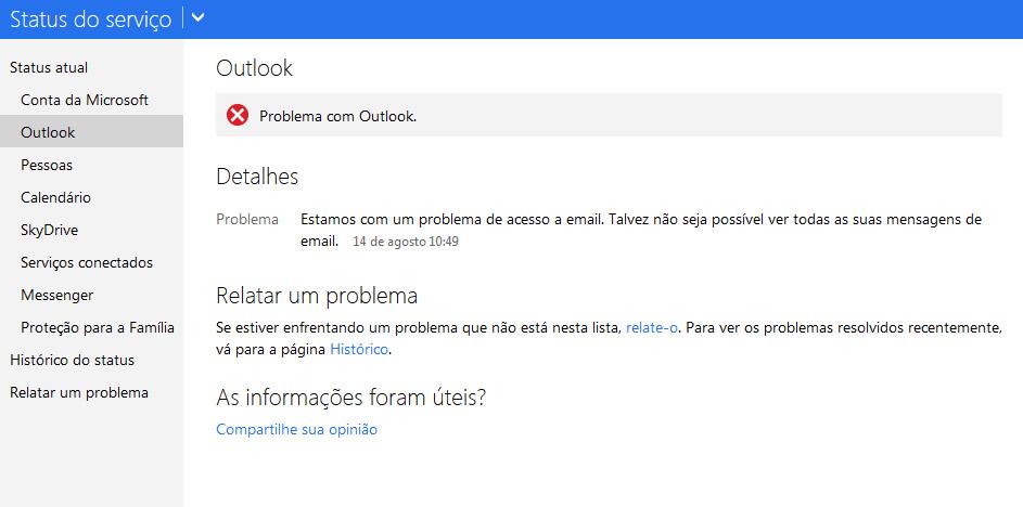 Erro no Outlook.com atingiu usuários no mundo inteiro  (Foto: Reprodução/TechTudo)