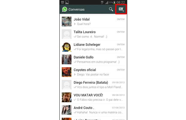"""Aperte no ícone """"Nova Conversa"""", indicado na imagem (Foto: Reprodução/ Daniel Ribeiro)"""