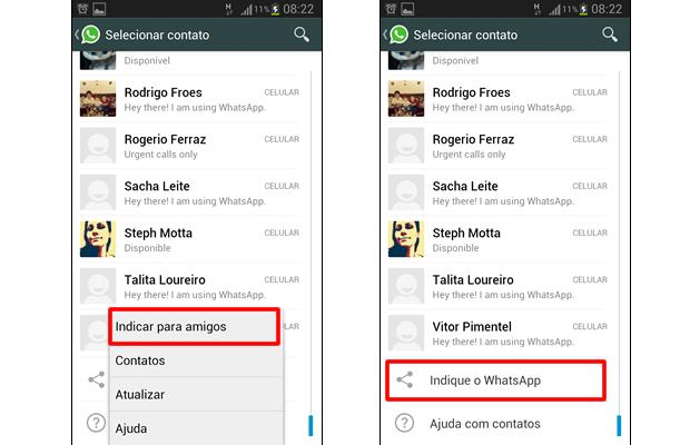 """Pressione a tecla de função de seu aparelho e em seguida """"Indicar para amigos"""", ou vá para o fim da página e clique em """"Indique o WhatsApp"""" (Foto: Reprodução/ Daniel Ribeiro)"""