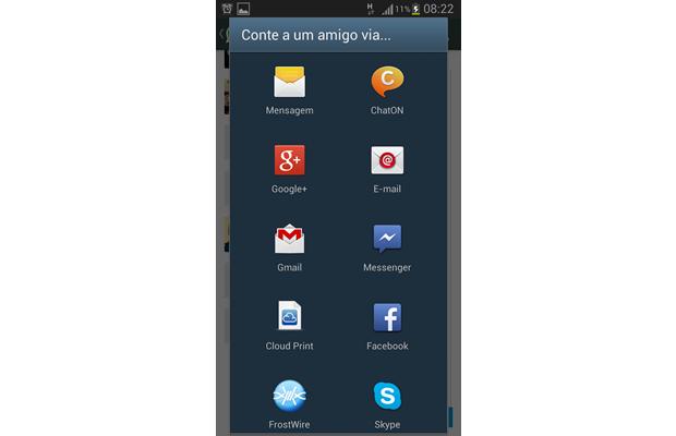 Escolha por qual aplicativo você deseja enviar sua solicitação de ingresso ao WhatsApp (Foto: Reprodução/ Daniel Ribeiro)