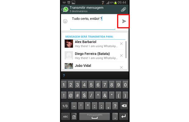 Escreva sua mensagem na caixa de texto na parte superior da interface e selecione o botão de envio (Foto: Reprodução/ Daniel Ribeiro)
